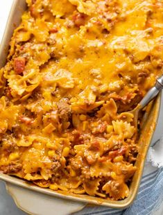 This Sloppy Joe Casserole has ground beef and pasta noodles smothered in a cheesy Manwich sauce with corn and tomatoes! This recipe also doubles as a One Pot dinner and makes a great freezer meal! Sloppy Joe Casserole, Cheeseburger Casserole, Beef Casserole, Easy Casserole Recipes, Casserole Dishes, Beef Pasta, Pasta Noodles, Quick Dinner Recipes, Ground Beef Recipes
