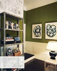 love the pics on the wall and the makeover shelves.  AND the green on the walls.  I guess i like this whole little nooks look.