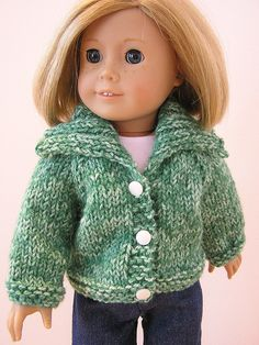 Shawl collar cardigan sweater knit pattern for american girl dolls
