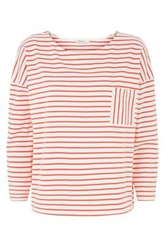 Elba Stripe Top in Coral