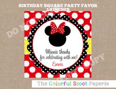 Minnie Mouse Favor Tags Minnie Mouse Stickers by TheColorfulScoot