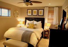 grey and yellow bedroom- guest bedroom