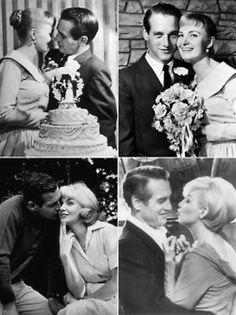 Paul Newman and Joanne Woodward wed January 1958 in Las Vegas, and there are so many delightful photos of them together that seem to explain how they stayed happily married for 50 years Golden Age Of Hollywood, Hollywood Stars, Classic Hollywood, Old Hollywood, Celebrity Wedding Photos, Celebrity Couples, Celebrity Weddings, Wedding Pics, Classic Movie Stars