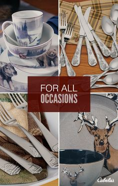 Bring the majesty of the great outdoors to your table & rustic dinnerware sets clearance | ... » Rustic Cabin u0026 Lodge ...