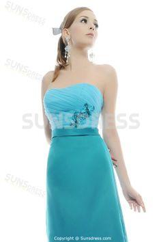 Fabulous Strapless Blue Flower Sheath Simple Design Casual Bridesmaid Dress