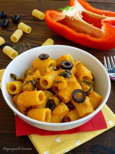 pasta crema di peperoni e olive