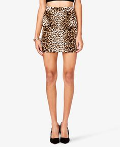 Leopard Print Peplum Skirt | FOREVER21 - 2037462115
