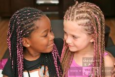 Share the Hair: Pink Yarn Extensions | Chocolate Hair / Vanilla Care: Style Gallery....I'm saving this because these two girls look so cute together! awwww