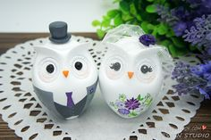 Owl Love Bird Cake Toppers-Personalized Country Bride And Groom Cake Topper Gray And Purple Theme