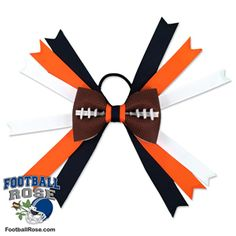 Handmade Football Hair Bow made from real football leather with navy blue, orange and white ribbon accents inspired by Denver football Chicago Football Team, Football Fans, Football Hair Bows, Different Font Styles, Team Mom, Elastic Hair Ties, Making Hair Bows, Ribbon Colors, How To Make Bows