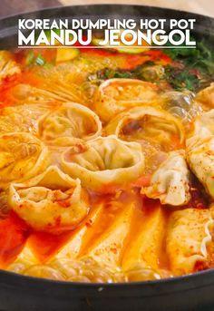 Korean Dumpling Hot Pot, Mandu Jeongol Recipe & Video - Seonkyoung Longest - Food and drink - Asian Kimchi, Korean Dumplings, Seonkyoung Longest, Asian Recipes, Ethnic Recipes, Hot Pot Recipes, Korean Dishes, Asian Cooking, Food Videos