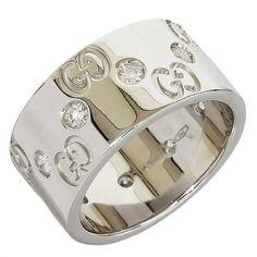Gucci 18K White Gold Diamond Wide Ring US Size 4.75