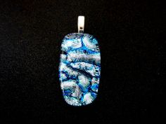 Fused Dichroic Glass Pendant Blue and White by debysdesigns, $20.00 Nice one Deby. Great fused glass art!