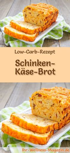 Rezept für Low Carb Schinken-Käse-Brot: Kohlenhydratarm, ohne Getreidemehl, gesund und gut verträglich ... #lowcarb #brot #backen