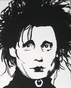 Blending is the secret! This is an 8 x 10 inch portrait of Edward Scissorhands, black and white on wrap around canvas. No frame needed.  $10 + shipping