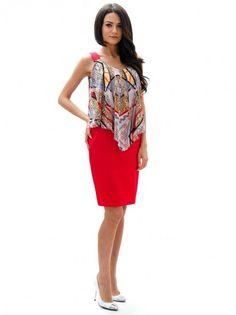 Dámske šaty na ramienka RADEKS - červená  farebná 661fcfc4ac