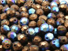 25pcs Czech FirePolished Faceted Glass Beads Round by ScaraBeads, $2.70