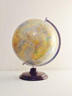 Late 1940s Large Early East German World Globe by Decofanatique, $115.00