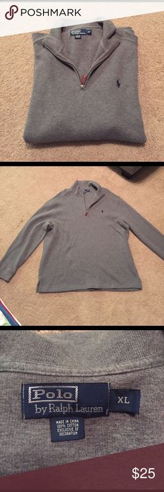 Polo Raulph Lauren grey pullover Grey Polo Ralph Lauren pullover with quarter zip. In excellent condition and only worn twice. Polo by Ralph Lauren Sweaters