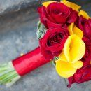Bridal bouquet of yellow calla lilies and red roses   Bergerons Flowers & Events