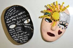 Masks made by two women in a domestic violence support group shows, at left, what a victim is really going through. The outside of the mask, right, shows what a victim chooses to show to the world. Photographed at the Women's Center of Greater Danbury on Thursday, May 3, 2012. Photo: Jason Rearick / The News-Times