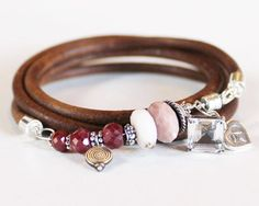 Artisan wrap bracelet - raw ruby, pink opal, sterling silver and leather bangle bracelet