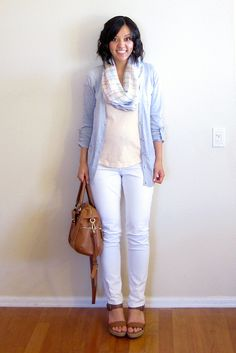 maternity style: pastel palette.  all solids + patterned scarf.