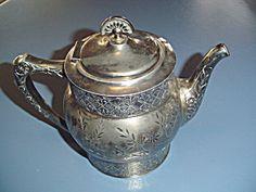 Aurora Sp Mfg Co Teapot Engraved Flowers Quadruple Plate 948