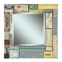 dream - soar Wood Block Framed Beveled Mirror with Embellishments
