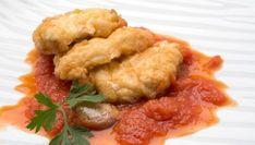 Receta de Rape rebozado con salsa de tomate al azafrán