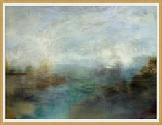 This painting can be high impact all on it's own but it is part I of a set of two. Into the Mist is a framed reproduction on canvas and it's moody blues and blended earth tones are blended into a fogg