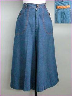 1970s denim culottes