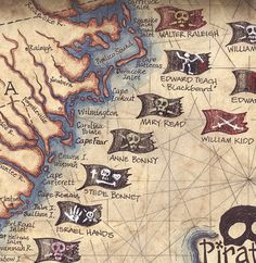 Pirates of the South Atlantic States Art Print 11 x 14 , Hand Drawn Artwork, Pirate Prints, Pirate F Pirate Art, Pirate Life, Pirate Flags, Pirate Ships, Pirate Crafts, Jack Sparrow, Pirate Symbols, Homemade Pirate Costumes, Pirate History