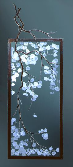 Etched Aspen Room Divider with Steel Branch Overlays