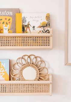 a cane book shelf using the FLISAT wall shelf from IKEA for this easy IKEA hack for your little kid's room. Nursery Nook, Nursery Decor, Room Decor, Wall Bookshelves, Wood Shelves, Ikea Hack Kids, Ikea Hacks, Bedroom Reading Nooks, Ikea Book