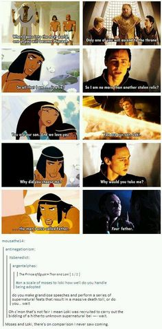 Prince of Egypt Moses and Avengers Loki. a comparison drawn between two characters inspired by, yet very different from their actual, original versions (Bible Moses and Norse Mythology Loki) Marvel Dc, Memes Marvel, Dc Memes, Loki Funny, The Funny, Funny Geek, Marvel Funny, Hilarious, Geek Humor