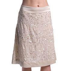 Shubrah, Chandni- Sequin Off White Silk Satin Skirt, Size S