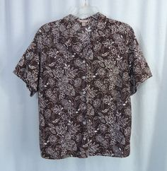Womens Plus WHITE STAG Brown White Floral Button Front Top, Size 3X 22W-24W #WhiteStag #ButtonDownShirt #Casual