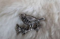 Vintage 925 Sterling Silver Marcasite Bird In Song Brooch