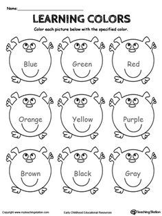 **FREE** Learning Basic Colors Worksheet. Practice learning the basic colors: blue, green, red, orange, brown, black, gray, yellow and purple by coloring the pictures based on the color name. #MyTeachingStation