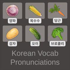 Korean Language 669769775817373787 - Several pronunciations for some basic Korean vegetable words. Source by beyneixluc Learn Korean Online, Learn Basic Korean, How To Speak Korean, Basic Chinese, Chinese Food, Korean Words Learning, Japanese Language Learning, Korean Vegetables, Korean Lessons