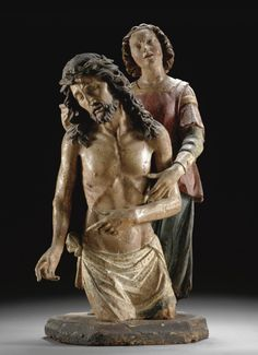 ITALIAN, TUSCANY, EARLY 16TH CENTURY, A POLYCHROMED WOOD GROUP OF THE ECCE HOMO, ON AN ADDED BASE. | © 2013 Sotheby's