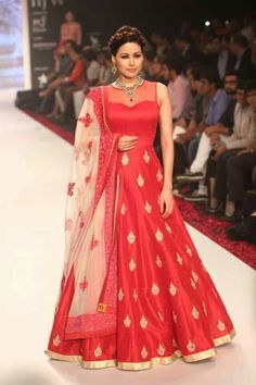 Hot red anarkali
