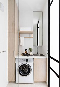 Small but mighty! This compact terrace renovation pairs Japanese-inspired minimalism with contemporary living and clever. Compact Laundry, Laundry Storage, Small Laundry, Laundry In Bathroom, Laundry Cupboard, Laundry Room Inspiration, Box Houses, Laundry Room Design, Clever Design