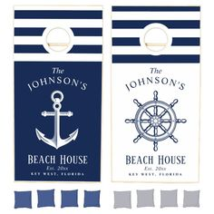 Nautical Themed Anchor|Wheel Beach House Cornhole Set - tap, personalize, buy right now! #CornholeSet #family #reunion, #beachhouse, #beach #house, Cornhole Set, Cornhole Boards, Cornhole Designs, Cross Beam, Johnson And Johnson, Modern Kids, School Colors, Nautical Theme, Navy And White