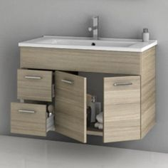 ACF by Nameeks ACF LOR02-LC Loren 33-in. Single Bathroom Vanity Set - Larch Canapa, Grey