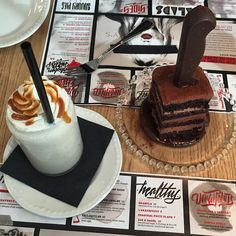 Salted caramel shake + death by chocolate cake (knife is made of chocolate too!)