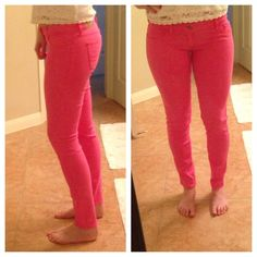 Abercrombie Pink Denim Jeans No Trades!  Worn once look brand new! Super soft Jean material.  Very stretchy and comfy!  Bright pink like the last photo!  Size 2R.  Fit slim all the way down the leg! Abercrombie & Fitch Jeans Skinny