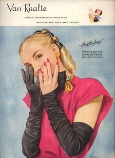 1945 vintage van raalte gloves ad