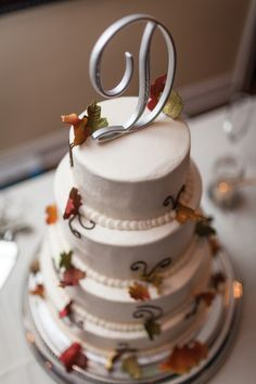 """silver """"D"""" initial with fall leaves I thereddirtbride.com I see more of this wedding here Wedding Cake Rustic, Wedding Cakes, Initial Decor, Rustic Cake Toppers, Fall Leaves, Autumn Wedding, Initials, Smooth, Bride"""